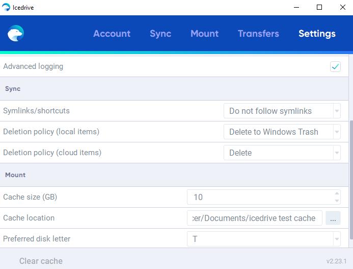 IceDrive ou pCloud - ice-drive-settings