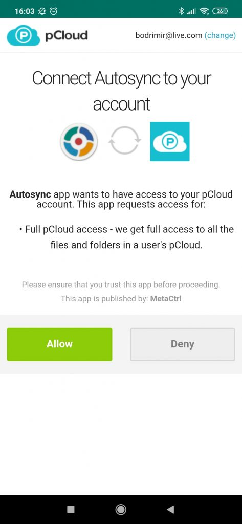 authorise pCloud